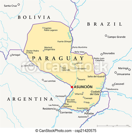 Paraguay political map Political map of paraguay with vectors