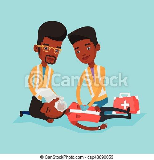 paramédicos, cardiopulmonar, resuscitation