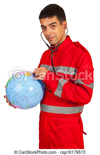Paramedic examine world globe - csp16179513