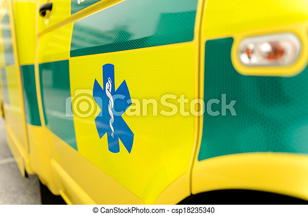 Paramedic symbol on yellow ambulance car - csp18235340