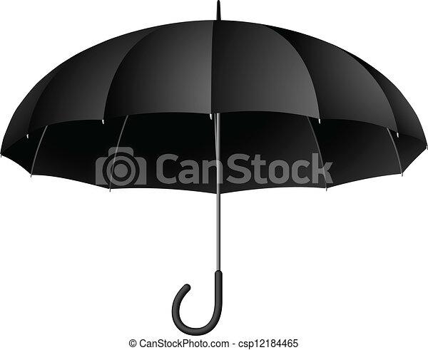 parapluie, classique, isolé, illustration, arrière-plan., vecteur, noir, blanc - csp12184465