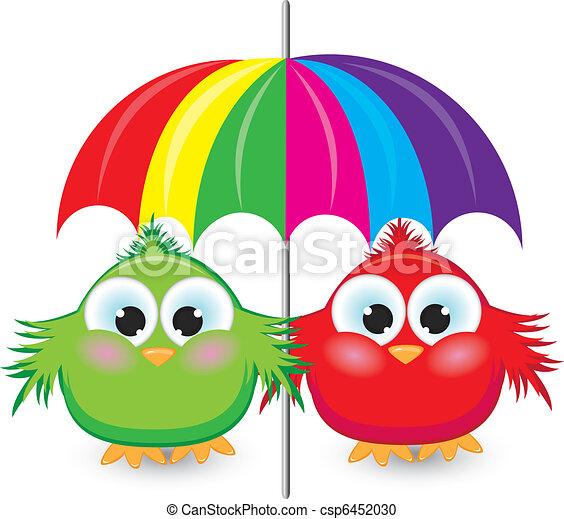 parapluie, coloré, moineau, deux, sous, dessin animé - csp6452030