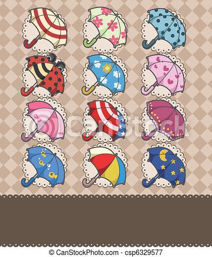 parapluie, dessin animé, carte - csp6329577