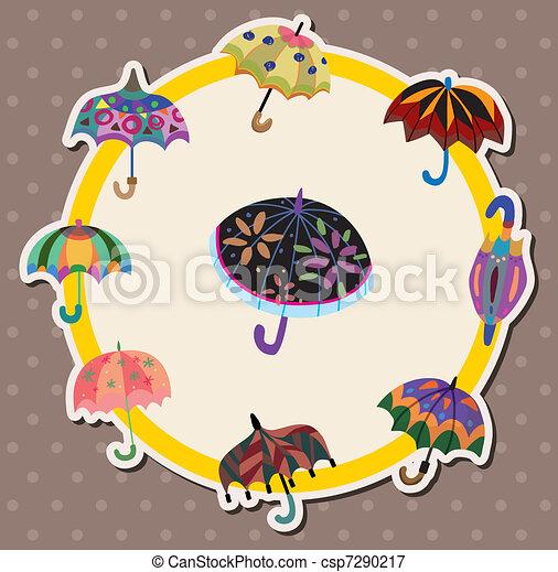 parapluie, dessin animé, carte - csp7290217