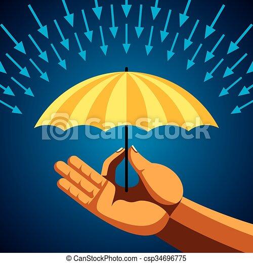 parapluie, jaune, main - csp34696775