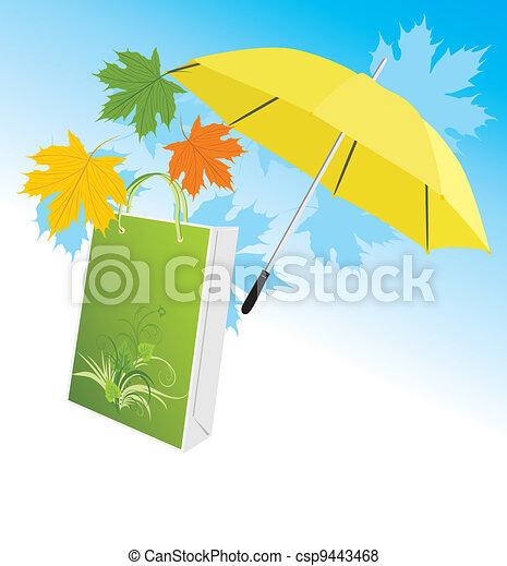 parapluie, jaune, paquet - csp9443468