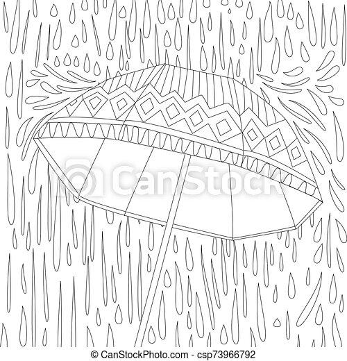parapluie, livre, coloration, ton, mignon - csp73966792