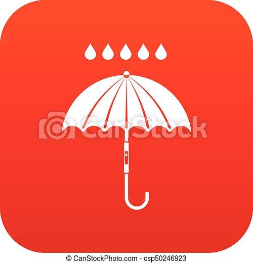 parapluie, pluie, numérique, gouttes, rouges, icône - csp50246923