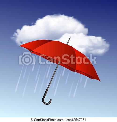 parapluie, temps pluvieux, nuages, icône - csp13547251
