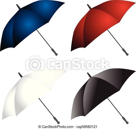 parapluie, vecteur, conception, collection - csp59560121