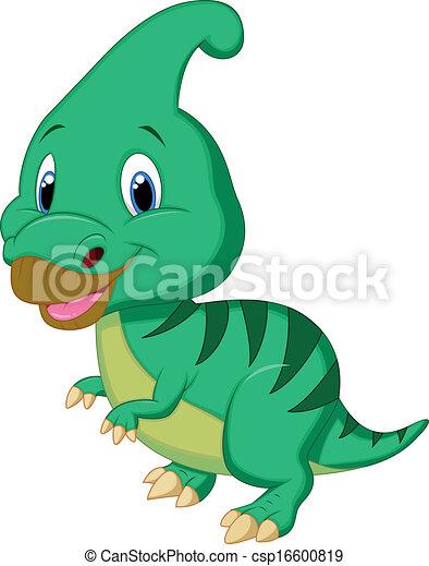 parasaurolophus, dinozaur, sprytny, carto - csp16600819