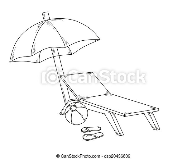 parasol flops, ball and chair - csp20436809