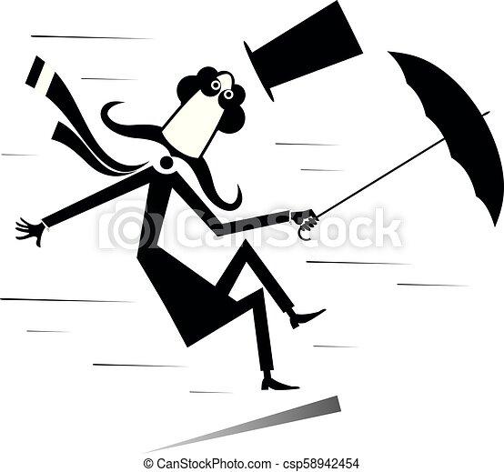 parasol, wiatr, górny, odizolowany, ilustracja, silny, kapelusz, wąsy, człowiek - csp58942454