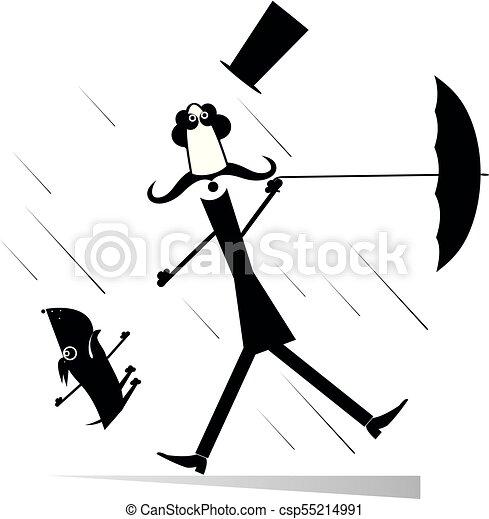 parasol, wiatr, górny pies, ilustracja, silny, kapelusz, wąsy, człowiek - csp55214991