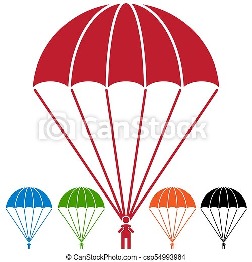 an image of a paratrooper parachute skydiver icon set rh canstockphoto com parachute clipart pictures parachute clipart cartoon