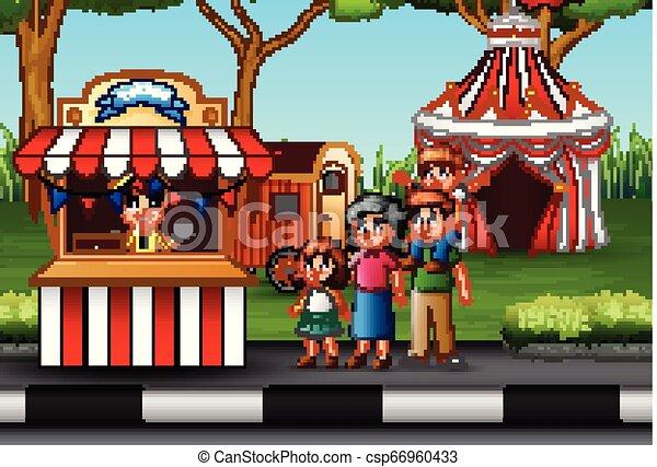 parc, amusement, famille, heureux - csp66960433