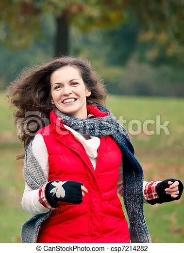 parc, automne, joli, amusement, girl, avoir - csp7214282
