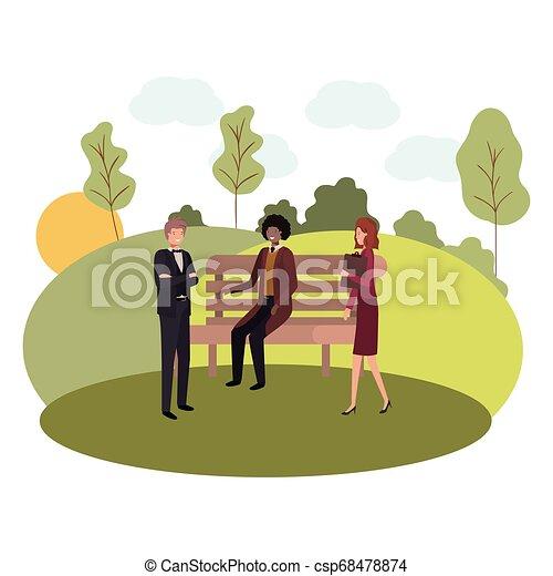 parc, chaise, groupe, paysage, business - csp68478874