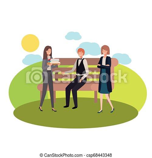 parc, chaise, groupe, paysage, business - csp68443348
