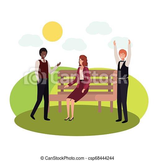 parc, chaise, groupe, paysage, business - csp68444244