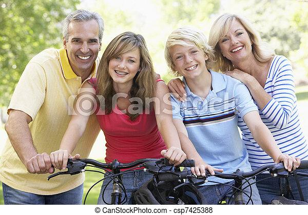 parc, cyclisme, par, famille - csp7425388