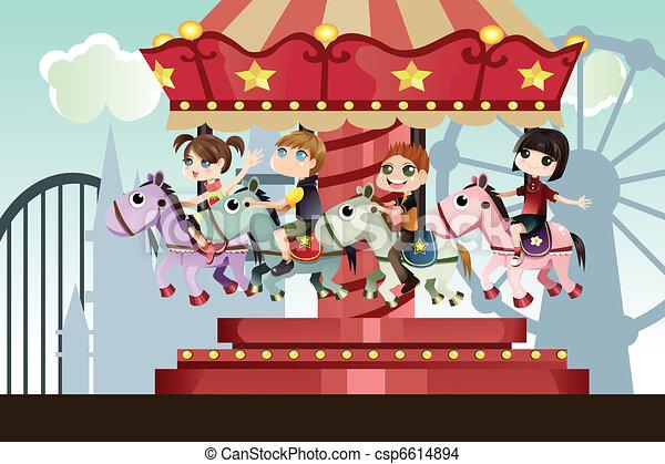 parc, enfants, amusement - csp6614894