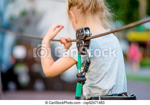 parc, girl, rope-way, brouillé - csp52471483