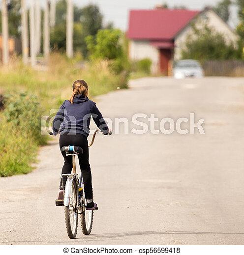 parc, girl, vélo - csp56599418