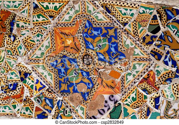 Parc Guell by Gaudi, Mercat de la Boqueria, Sagrada National Dance, Barcelona, Catalonia, Spain, Europe - csp2832849