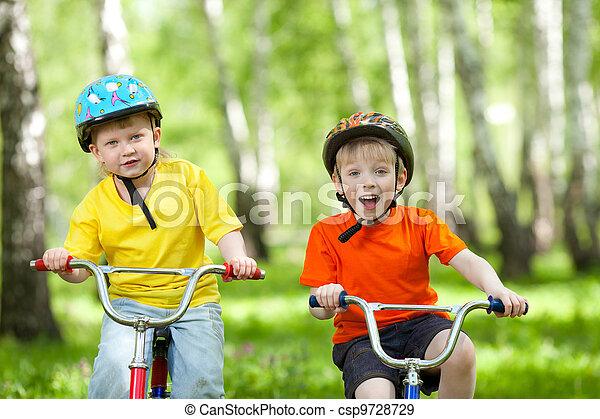 parc, heureux, vélo, vert, enfants - csp9728729