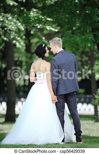 parc, marche, ensoleillé, couple, jour - csp56429339