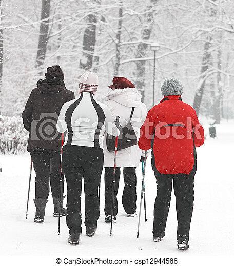 parc, personne agee, groupe, femmes - csp12944588