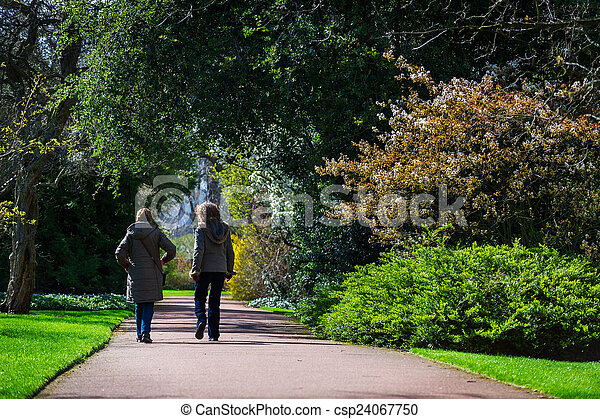 parc, printemps, couleur, ensoleillé, promenade, image, 2, femme, horizontal, amis, prendre, jour - csp24067750