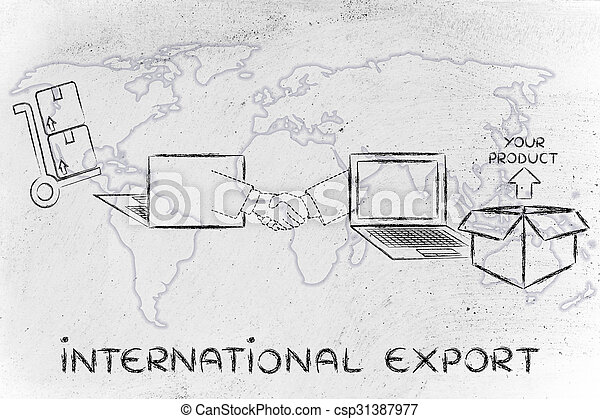 parcel ordered online and shipped across the globe with text International  Export
