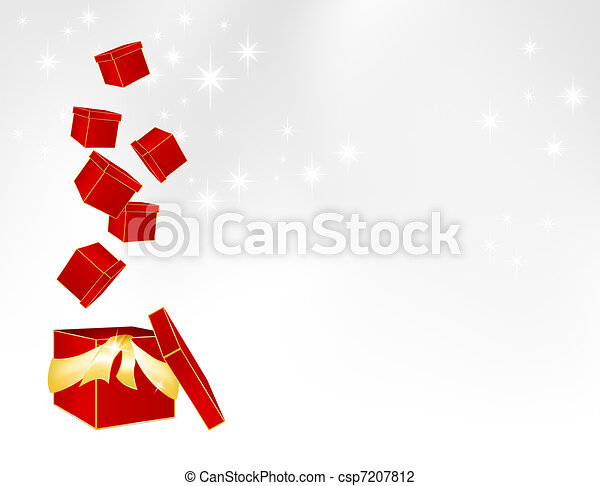 parcels falling into a big gift box vector illustration christmas