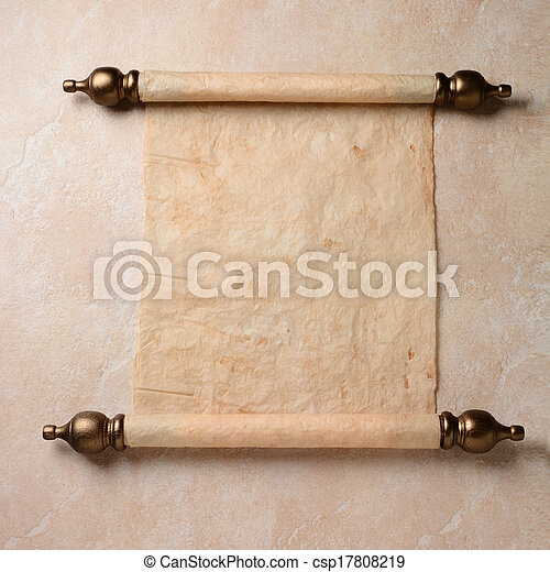 a parchment scroll spread out on a tile surface the paper stock