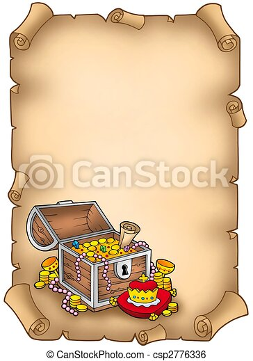 Parchment with big treasure chest - csp2776336