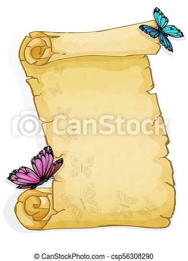 Parchment with butterfly isolated on white background - csp56308290