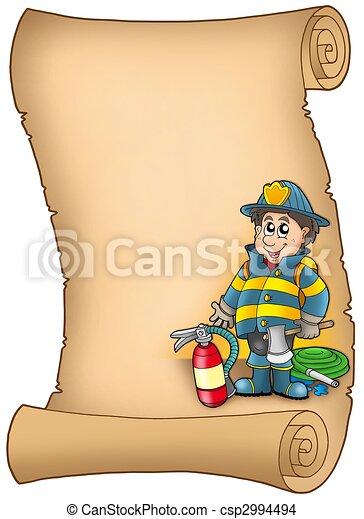 Parchment with fireman - csp2994494