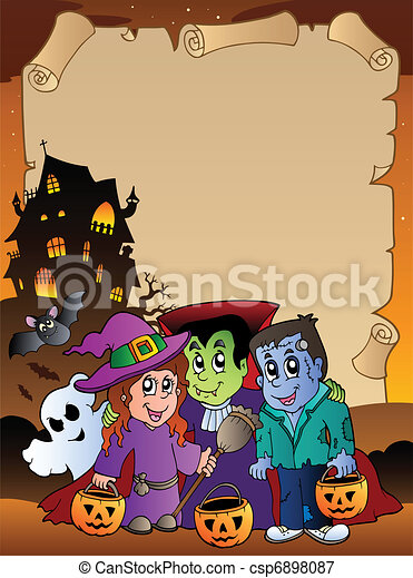 Parchment with Halloween topic 4 - csp6898087