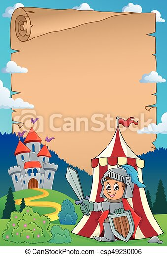 Parchment with knight by tent theme 1 - csp49230006
