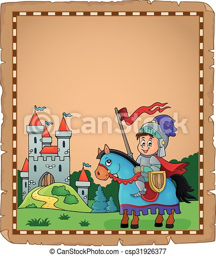 Parchment with knight on horse theme 2 - csp31926377