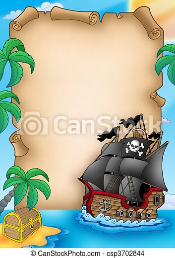 Parchment with pirate vessel - csp3702844