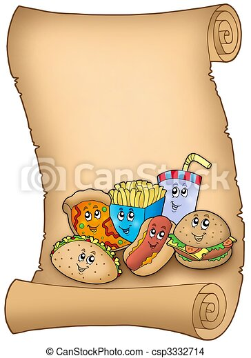 Parchment with various cartoon meals - csp3332714