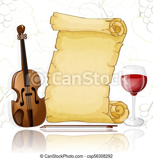 Parchment with violin and wine on white background - csp56308292
