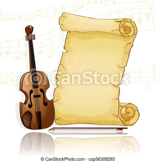 Parchment with violin over musical background - csp56308293