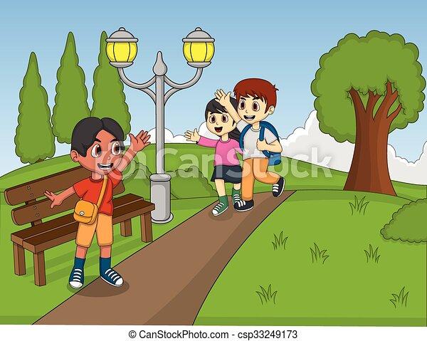 Vettoriale simpatico cartone animato bambini telaio image
