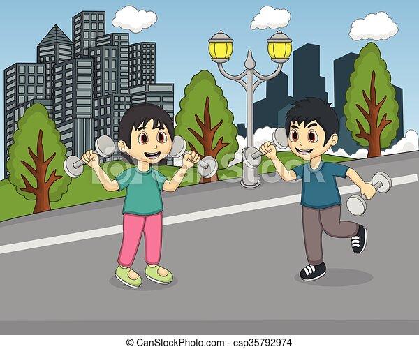 parco, bambini giocando - csp35792974