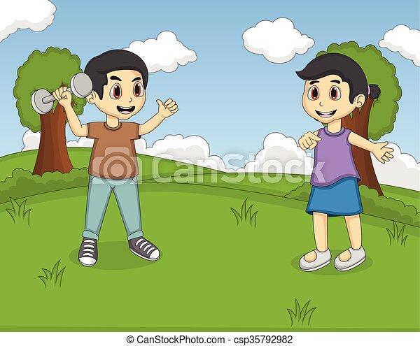 parco, bambini giocando - csp35792982