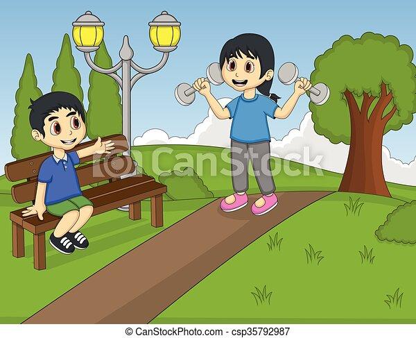 parco, bambini giocando - csp35792987